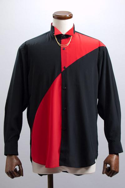 切り替えウイングカラーシャツ レッド