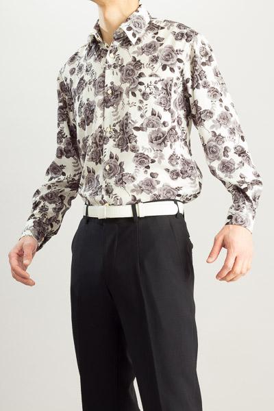バラ柄シャツ #4611 ホワイト・ブラック