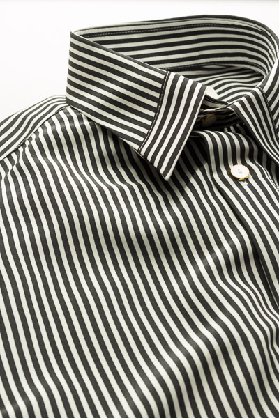 ストライプストッパーカラーシャツ #4612 ホワイト・ブラック