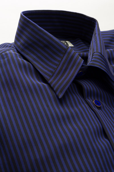 ストライプストッパーカラーシャツ #4612 ブルー・ブラック