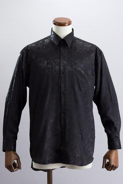 バラ柄シャツ ブラック