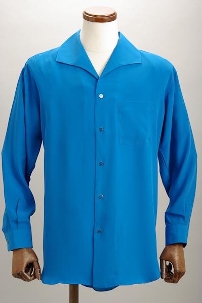 イタリアンカラーシャツ ブルー