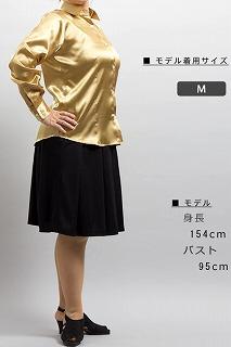 金色女性用サテンシャツ