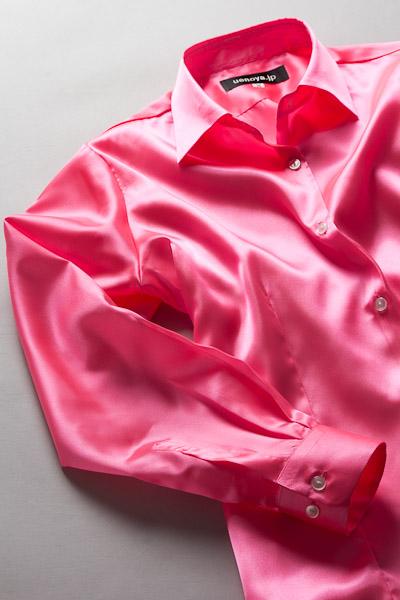 レディース サテンシャツ ショッキングピンク #09