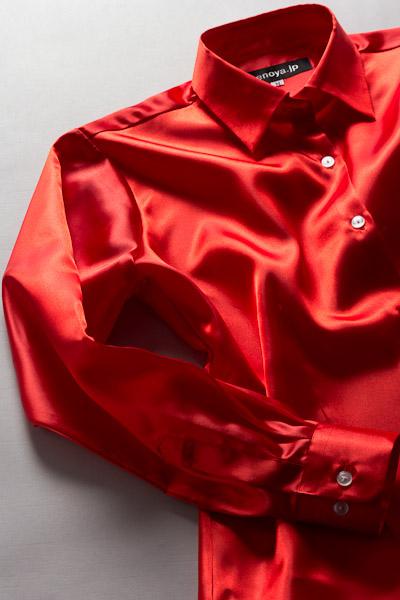 レディース サテンシャツ イタリアンレッド #10