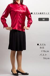 ワインカラー女性用サテンシャツ