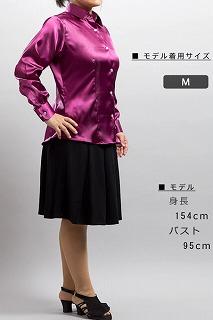 紫色女性用サテンシャツ