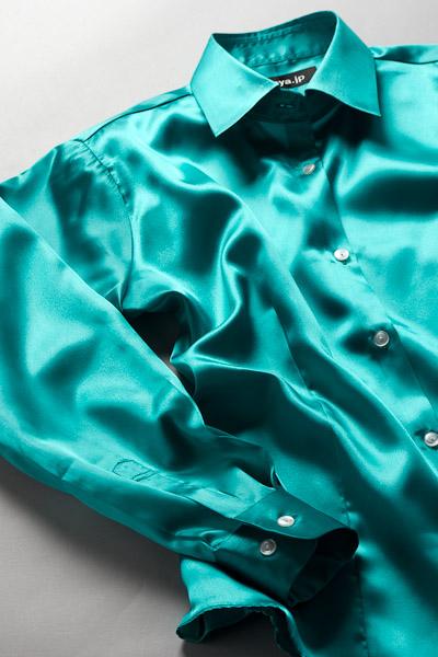 レディース サテンシャツ エメラルドグリーン #20