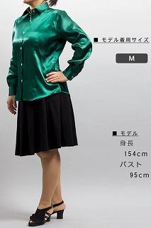 光沢のある女性用深緑色のシャツ