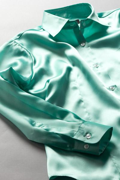 レディース サテンシャツ ミントグリーン #31