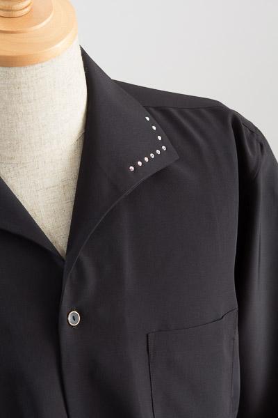 イタリアンカラー襟スワロフスキー ブラック