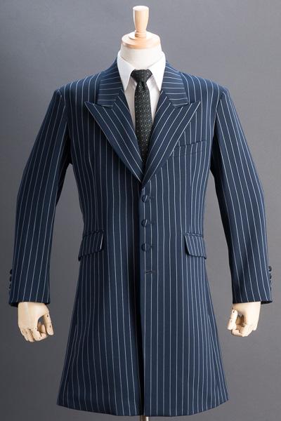 ロングジャケット・Zoot Jacket  ペンシルストライプ ネイビーブルー #0412