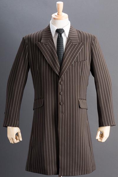 ロングジャケット・Zoot Jacket  ペンシルストライプ ブラウン #0415