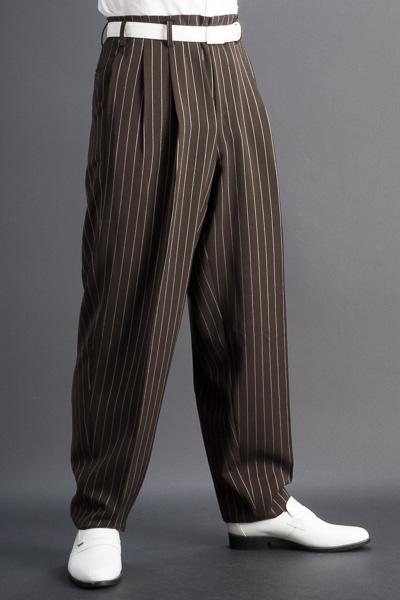 ズートパンツ ・zoot pants ペンシルストライプ ブラウン #0260