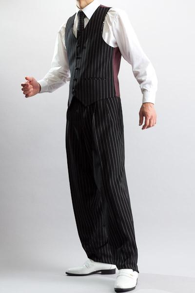 ペンシルストライプベスト・Zoot Vest 【くるみボタンベスト】 ブラック