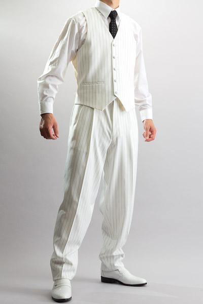 ペンシルストライプベスト・Zoot Vest ホワイト #0154B