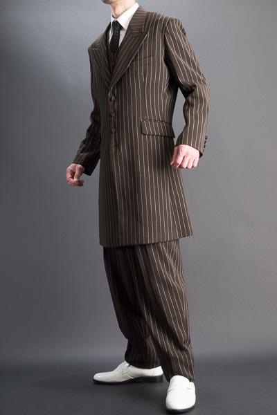 ズートスーツ・zoot suit ペンシルストライプ ブラウン #0258