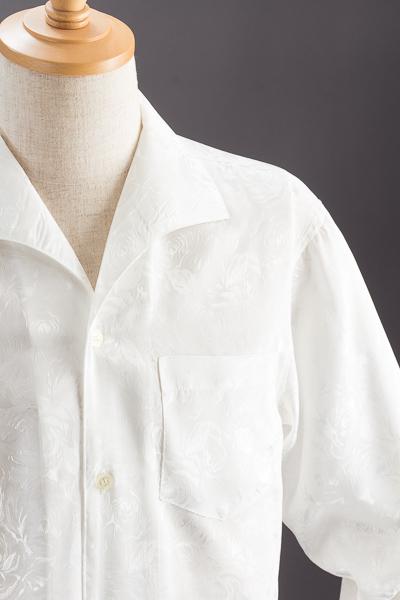 バラ柄 イタリアンカラーシャツ ホワイト