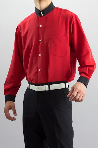 クレリック スタンドカラーシャツ #10021 レッド