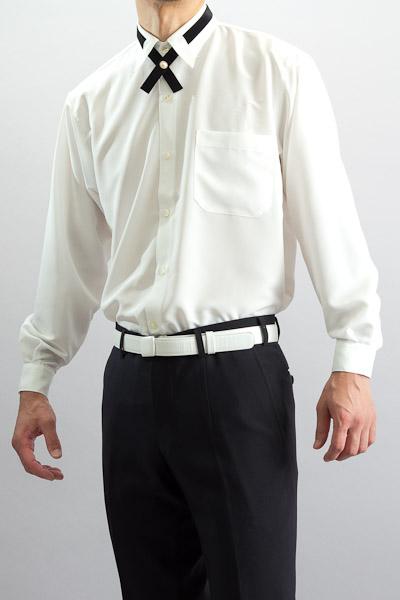 クロスタイ付 レギュラーカラーシャツ ホワイト