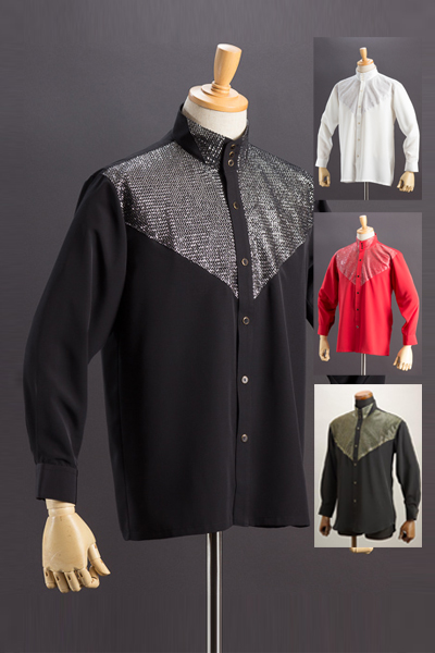 スタンドカラーシャツ ラメ3つボタン #171