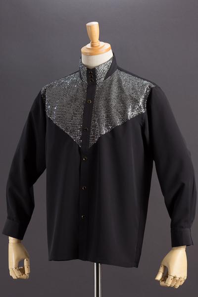 スタンドカラーシャツ ラメ3つボタン #171 ブラック