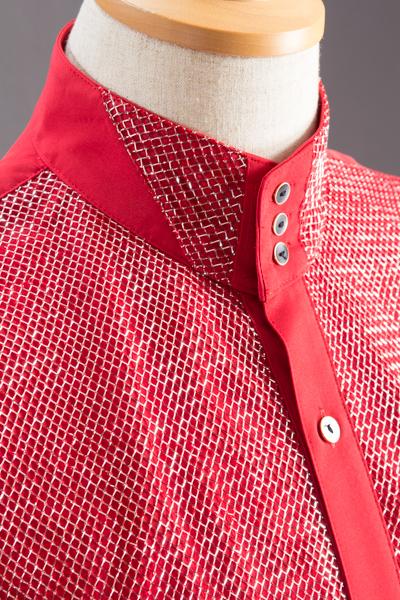 スタンドカラーシャツ ラメ3つボタン #171 レッド
