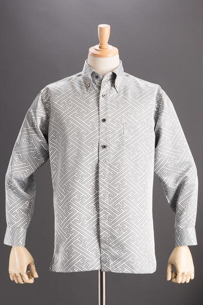 和柄ボタンダウンシャツ #10231 シルバー