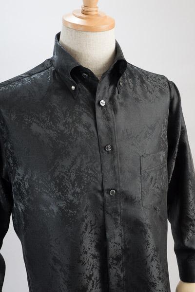 クラッシュ柄ボタンダウンシャツ#1a0221 ブラック