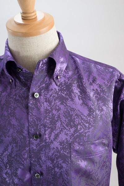 クラッシュ柄ボタンダウンシャツ#1a0221 パープル