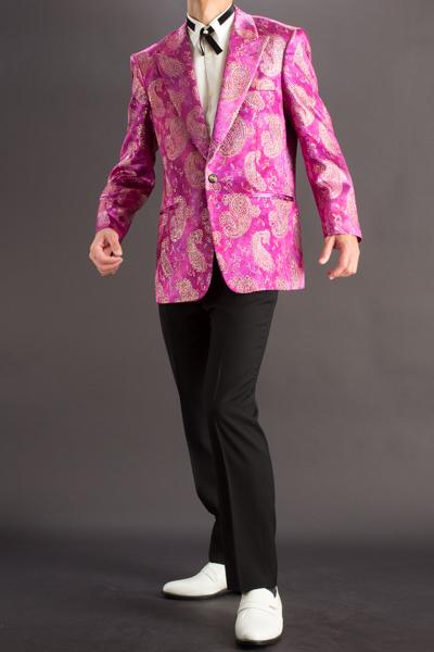 ペイズリー柄シングルジャケット#736 ピンク