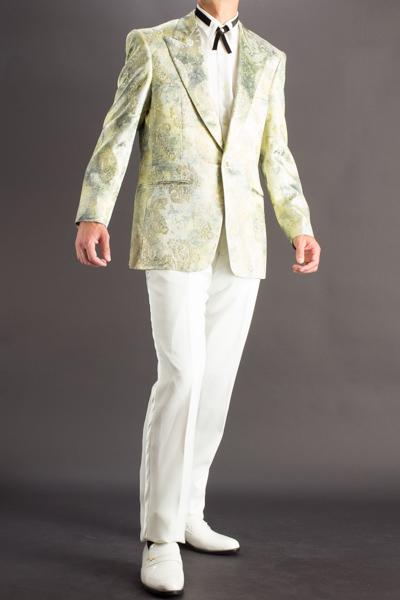 ペイズリー柄シングルジャケット#736 グリーン