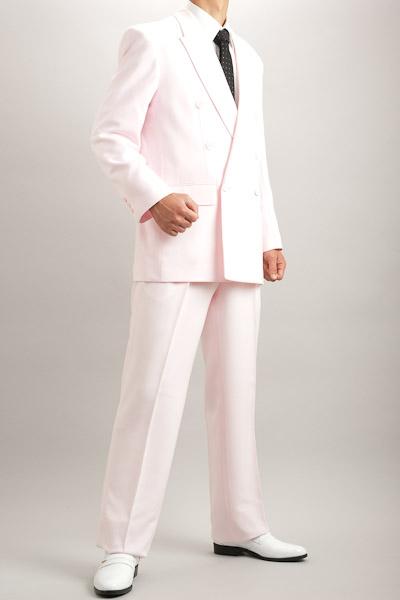 カラースーツ ダブル ローズピンク 2タックパンツモデル