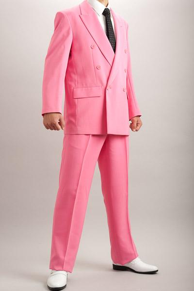 カラースーツ ダブル ショッキングピンク 2タックパンツモデル