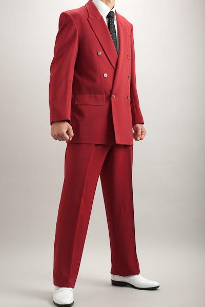 カラースーツ ダブル ワインレッド 2タックパンツモデル