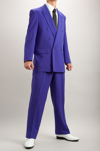 カラースーツ ダブル パープル 2タックパンツモデル