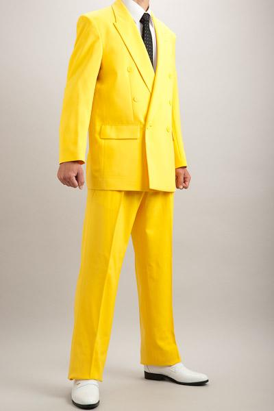 カラースーツ ダブル イエロー 2タックパンツモデル