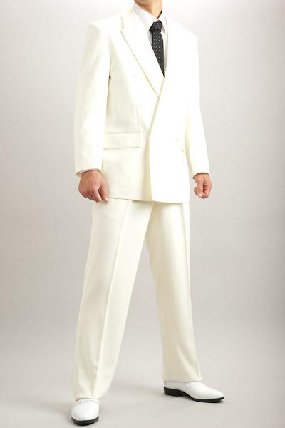 カラースーツ ダブル アイボリー 2タックパンツモデル