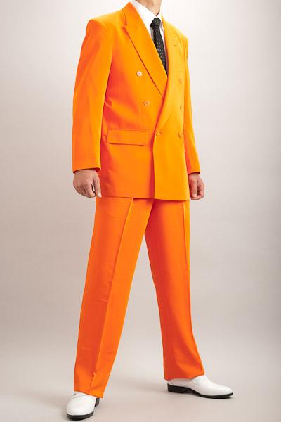 カラースーツ ダブル オレンジ 2タックパンツモデル