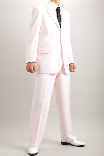 カラースーツ シングル 3つボタン ローズピンク 2タックパンツ モデル