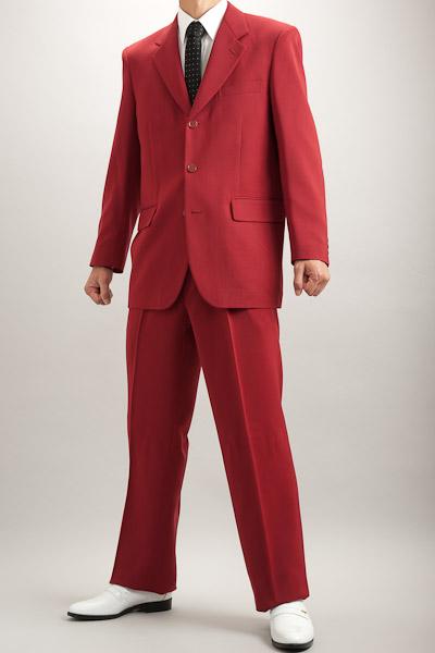 カラースーツ シングル 3つボタン ワインレッド 2タックパンツ モデル