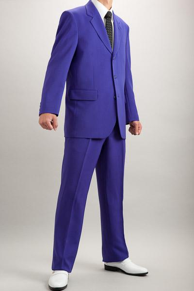 カラースーツ シングル 3つボタン パープル 2タックパンツ モデル