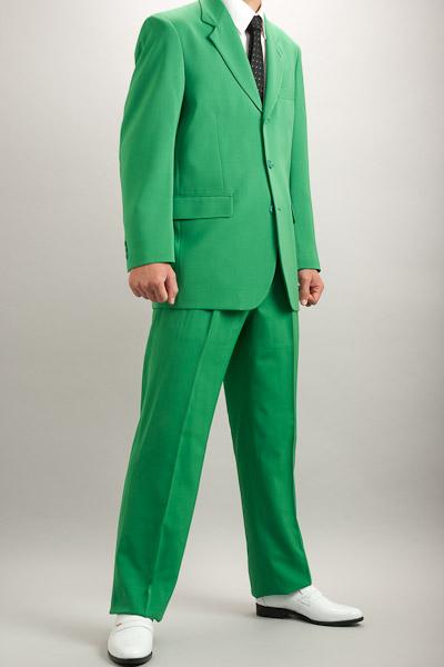 カラースーツ シングル 3つボタン グリーン 2タックパンツ モデル
