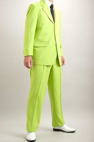カラースーツ シングル 3つボタン ライトグリーン 2タックパンツ モデル