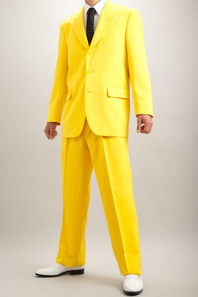 カラースーツ シングル 3つボタン イエロー 2タックパンツ モデル