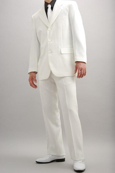 カラースーツ シングル 3つボタン ホワイト ノータックパンツモデル