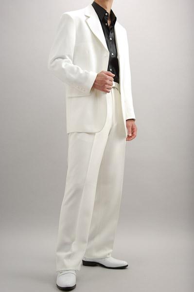 カラースーツ シングル 3つボタン ホワイト 2タックパンツ モデル