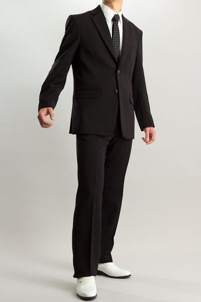 カラースーツ シングル 2つボタンサイドベンツ ブラック ノータックパンツモデル