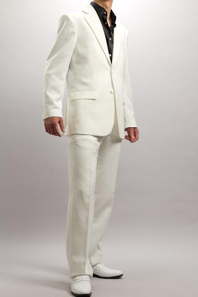 カラースーツ シングル 2つボタンサイドベンツ ホワイト ノータックパンツモデル