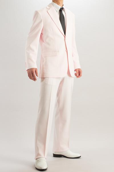 カラースーツ シングル 2つボタンサイドベンツ ローズピンク ノータックパンツモデル